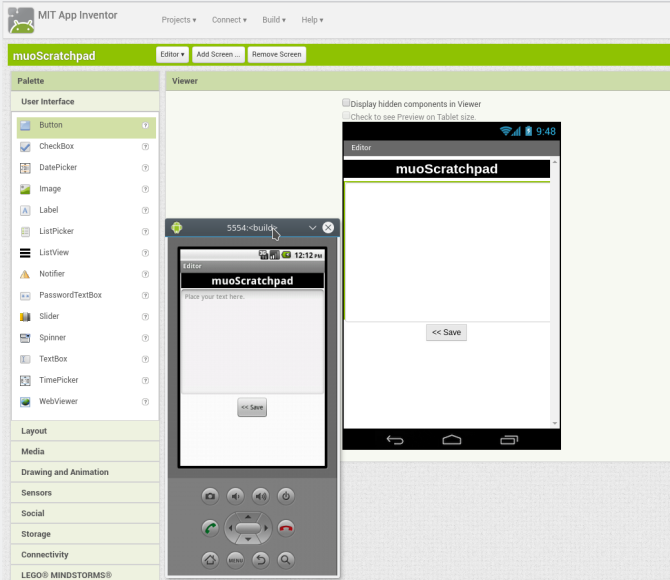 android create app appinventor screen2 layout