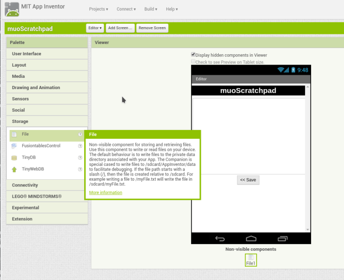 android create app appinventor screen2 storage