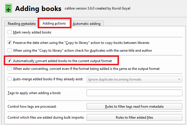 How to Auto-Convert Ebooks to Kindle Format When Importing Into Your Library calibre output convert
