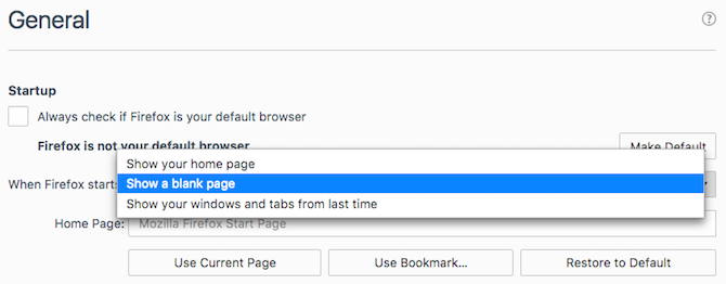 Set Firefox to show a blank page to make it start faster