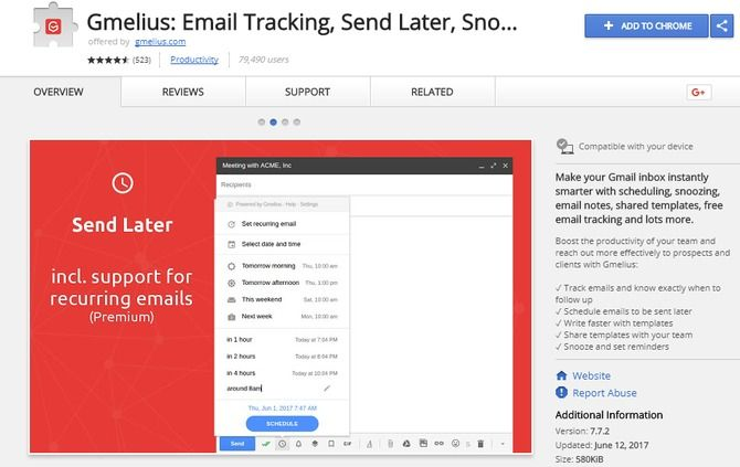 gmelius gmail extension