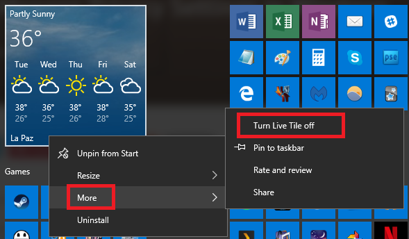 windows 10 live tile