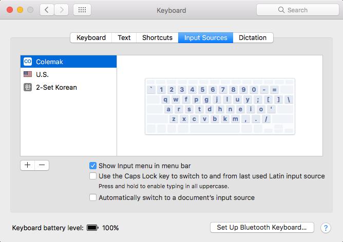 Mac input sources Colemak