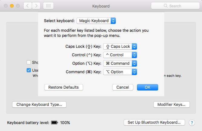 Change modification keys for Mac