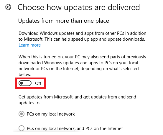 peer to peer updates windows 10