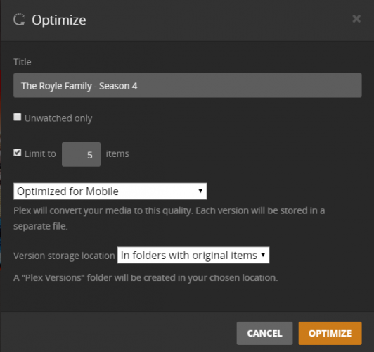 plex media optimize
