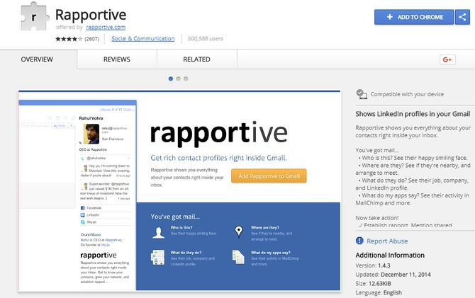 rapportive gmail extension
