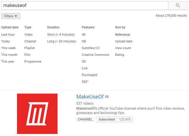 youtube advanced search