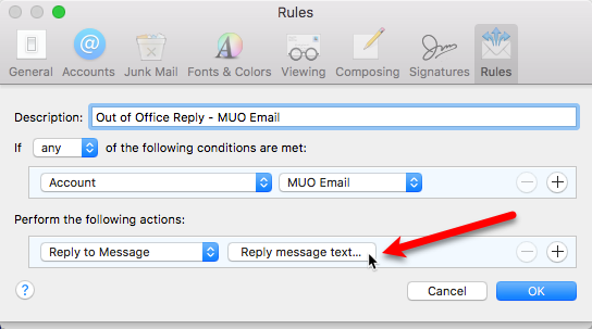 out of office email reply apple mail
