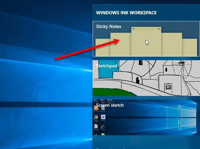 windows ink sticky notes