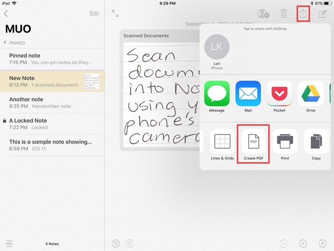 mark up documents pdf notes ios 11