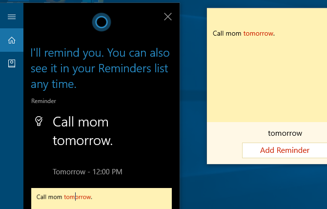 windows ink cortana reminder