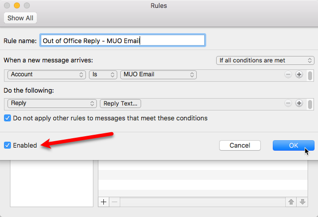 out of office email reply outlook