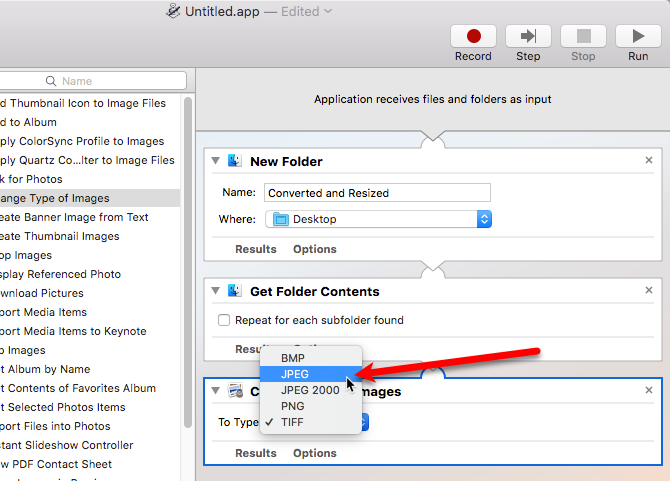 batch convert resize images mac automator
