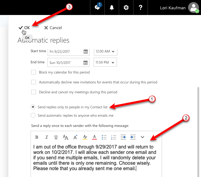 out of office email reply outlook.com