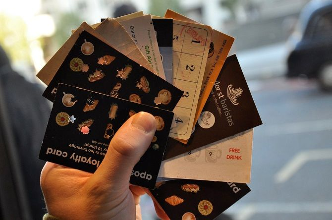 handful of used loyalty cards