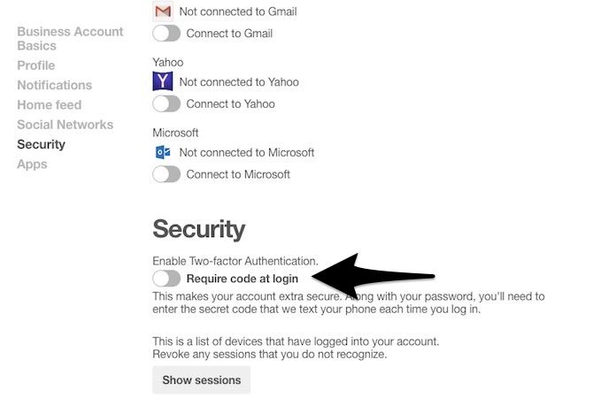 two-factor authentication social media accounts