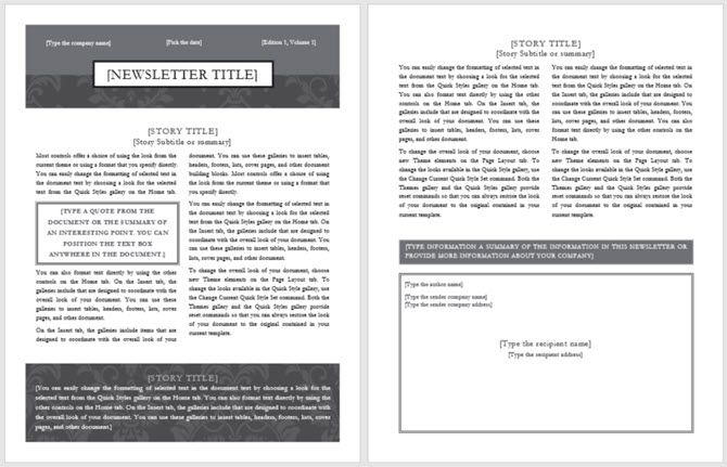 newsletter template black tie design