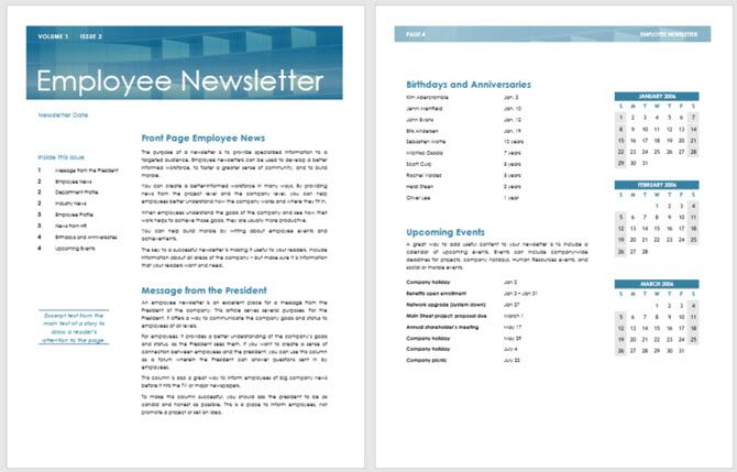 Free Newsletter Templates You Can Print Or Email As PDF - Internal email newsletter templates