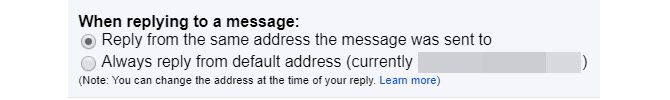 gmail enable same address reply