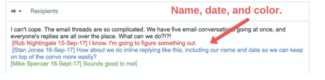 inline replying preface name email