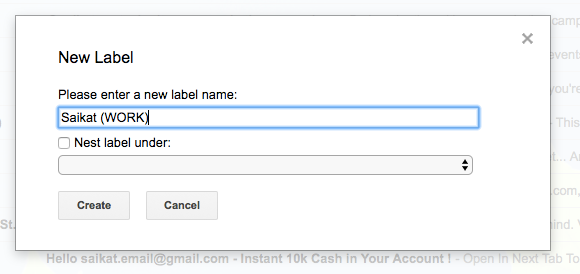 New Gmail Label
