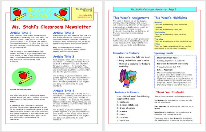 newsletter template school