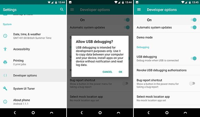 dev options android battery