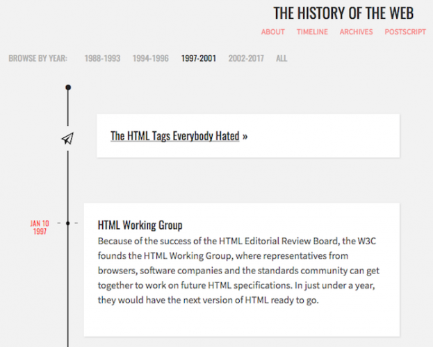 history of the web timeline