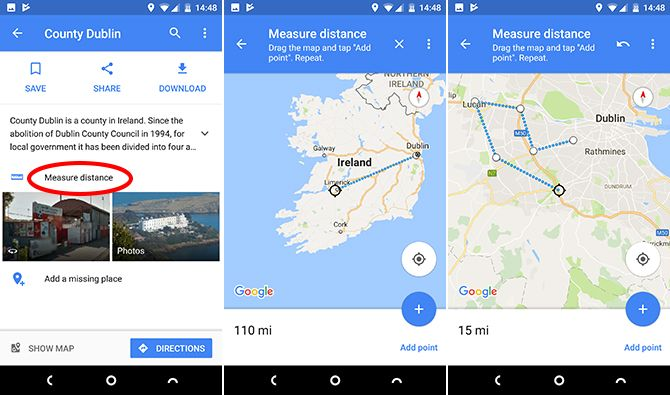 google maps android measure distance