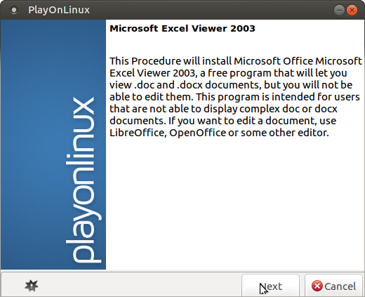 linux excel playonlinux installing