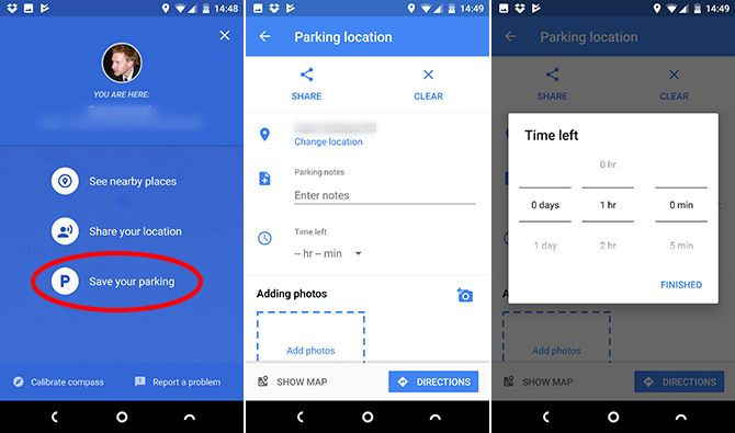 google maps android parking