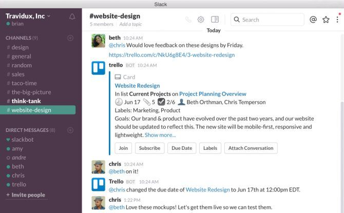 Best AI-driven productivity apps - Trello for Slack