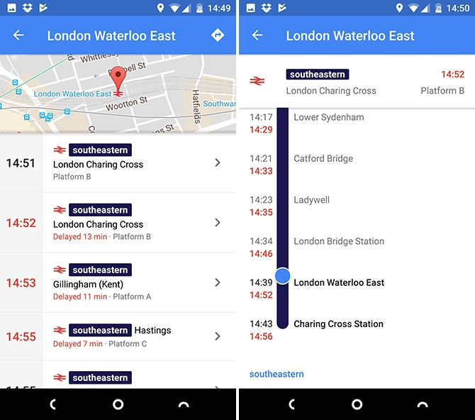 google maps android train times