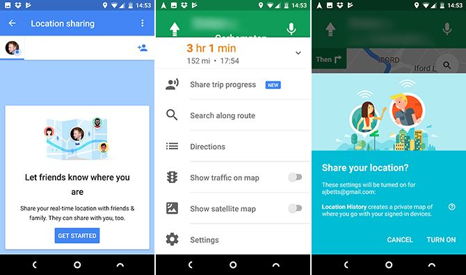 google maps android share trip progress