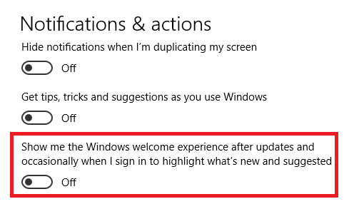 "How to Disable the ""Windows Welcome Experience"" Page in Windows 10 windows experience page settings"