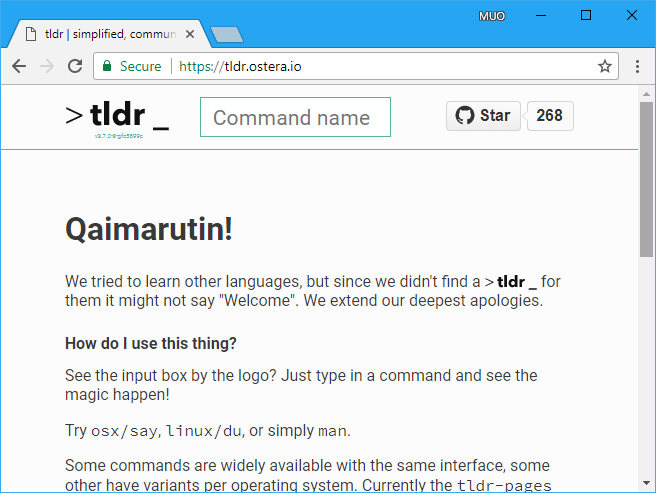 shorten man pages with tldr command linux mac