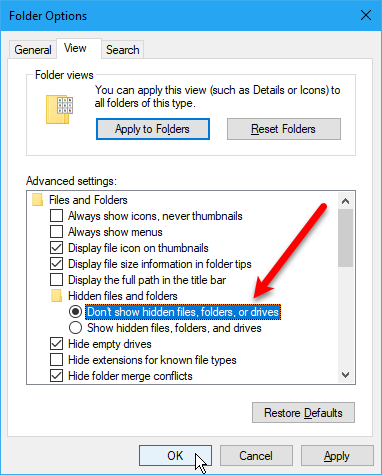 how to hide files folders drives in windows 10