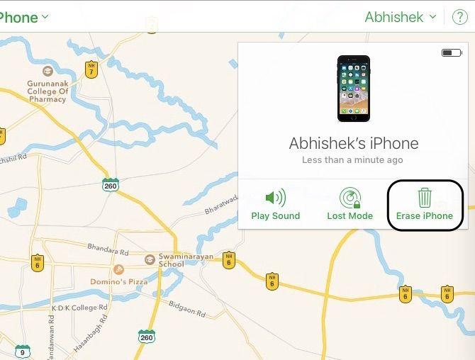 Find My iPhone Erase iPhone