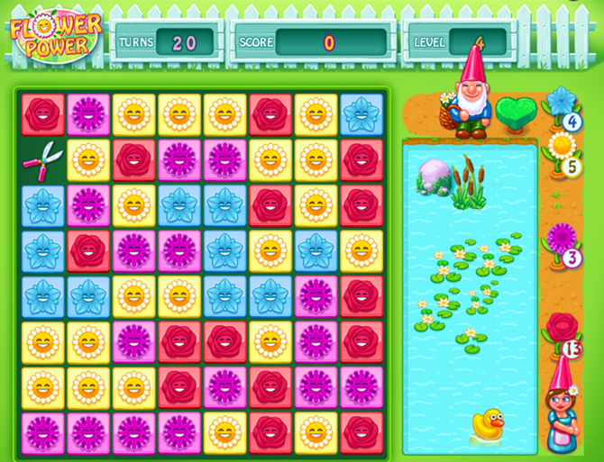 free browser match-three games flower power