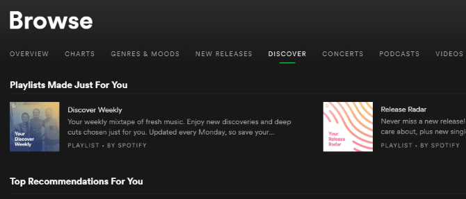 spotify find music similar tastes discover tab