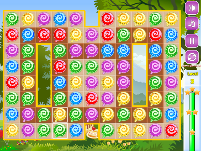 free browser match-three games sweet candies online