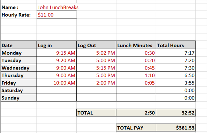 timesheet template track hours weekly with lunch breaks excel - Weekly Timesheet Template