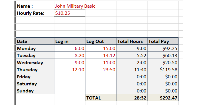 timesheet template track hours military time no breaks excel