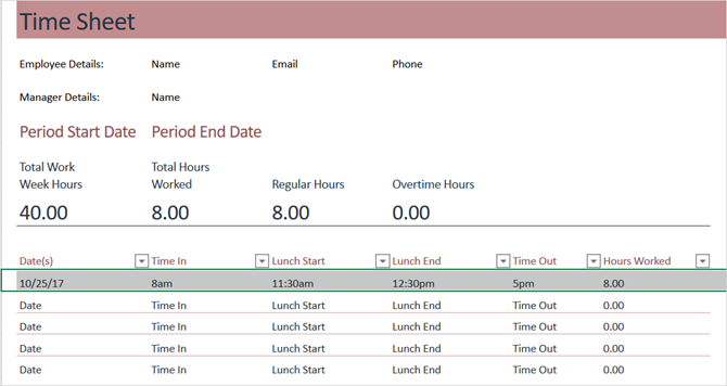 timesheet template track hours weekly excel