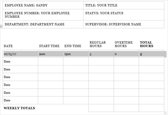 timesheet template track hours weekly word