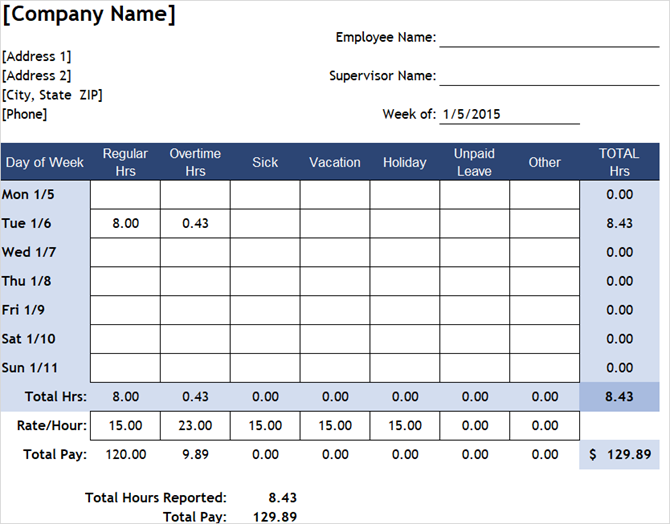 timesheet template track hours weekly excel unpaid leave