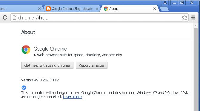 Google Chrome в Windows XP не поддерживается