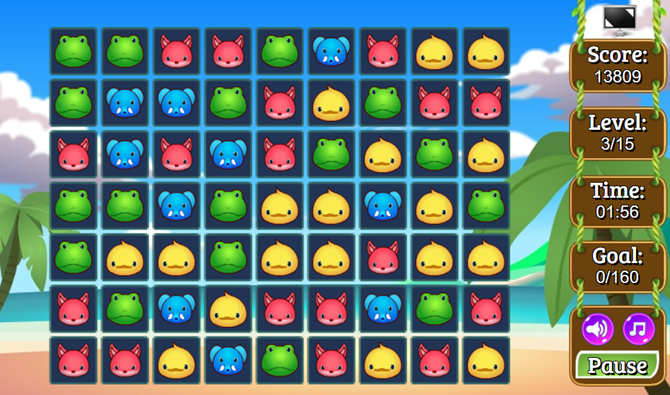 free browser match-three games zoobies