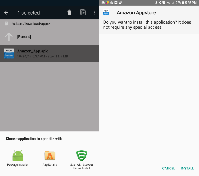 android versions amazon appstore install